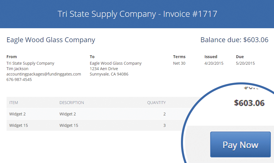 Screenshot: payments